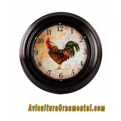 Reloj pared metal gallo